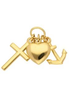 Damen Goldschmuck 585 Gold Anhänger Glaube-Liebe-Hoffnung 1001 Diamonds gold