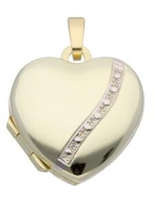 1001 Diamonds Damen Goldschmuck 585 Gold Medaillon Anhänger 1001 Diamonds gold