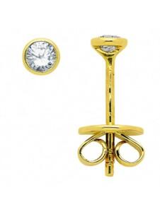 Damen Goldschmuck 585 Gold Ohrringe / Ohrstecker mit Brillant Ø 3,4 mm 1001 Diamonds gold