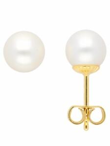 1001 Diamonds Damen Goldschmuck 585 Gold Ohrringe / Ohrstecker mit Süßwasser Zuchtperle Ø 7 mm 1001 Diamonds gold