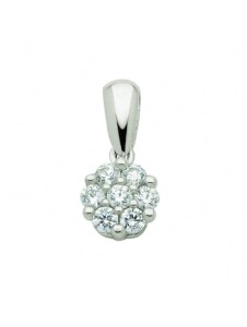 Damen Goldschmuck 585 Weißgold Anhänger mit Zirkonia 1001 Diamonds silber