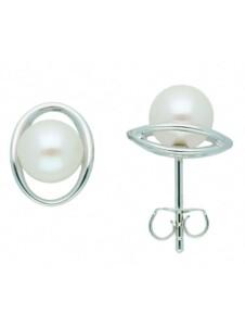 Damen Silberschmuck 925 Silber Ohrringe / Ohrstecker mit Süßwasser Zuchtperle 1001 Diamonds silber