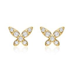 14K Gold Ohrstecker Schmetterlinge mit Brillanten