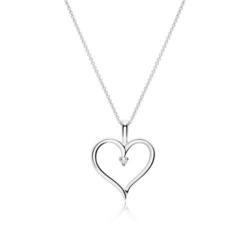 14K Weißgold Herzkette mit Diamant