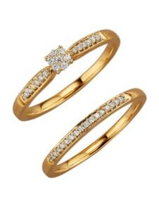 2tlg. Damenring-Set Diemer Diamant Gelbgoldfarben