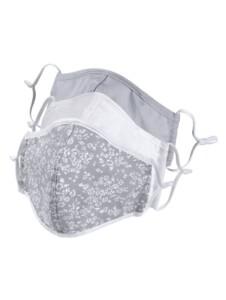 3-er Set Mund-Nasen-Bedeckung KLiNGEL Grau::Weiß