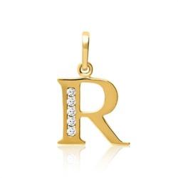 333er Gold Buchstabenanhänger R mit Zirkonia