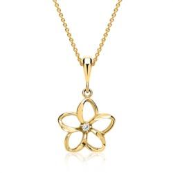 333er Goldkette Blume mit Zirkonia Stein