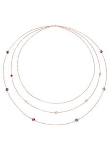 3rhg. Collier mit Swarovski-Kristallen AMY VERMONT Silberfarben