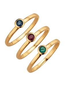 3tlg. Ring-Set Diemer Farbstein Multicolor