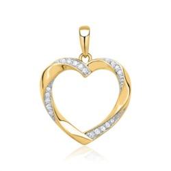 585er Gelbgold-Anhänger Herz 19 Diamanten