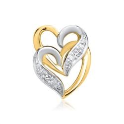 585er Gelbgold-Anhänger Herzen 2 Diamanten
