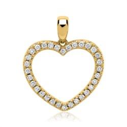 585er Gelbgold-Herz-Anhänger 32 Diamanten