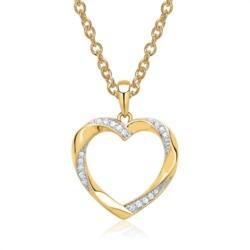 585er Gelbgold-Kette Herz 19 Diamanten