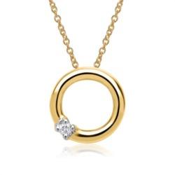 585er Gelbgold-Kette runderAnhänger Diamant