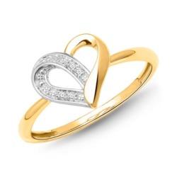 585er Gelbgold-Ring Herz 4 Diamanten 0,0208 ct.