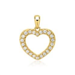 585er Gold-Anhänger Herz 22 Diamanten