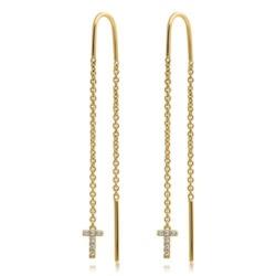 585er Gold Ohrhänger mit diamantbesetzten Buchstaben