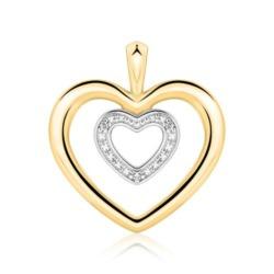 585er Goldanhänger Herzen mit Diamanten