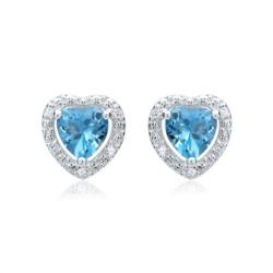 585er Ohrringe 2 Topase 10 Diamanten 0,04 ct.