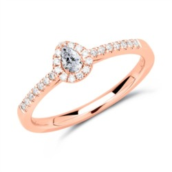750er Roségold Halo Ring Tropfen Diamanten