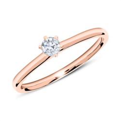 585er Roségold Verlobungsring mit Diamant 0,15 ct.
