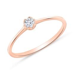 585er Roségold Verlobungsring mit Diamant