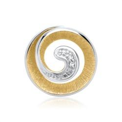 585er Weißgold-Anhänger Spirale 2 Diamanten