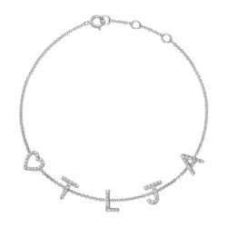 585er Weißgold Armband mit 5 Buchstaben, diamantbesetzt