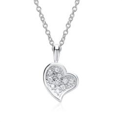 585er Weißgold-Kette Herz 10 Diamanten