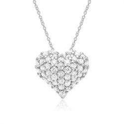 585er Weißgold-Kette Herz 48 Diamanten