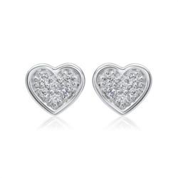 585er Weißgold-Ohrringe Herzen 12 Diamanten