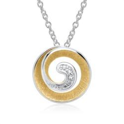 585er Weißgoldkette Spirale 2 Diamanten