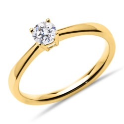 750er Gold Verlobungsring mit Diamant, lab-grown
