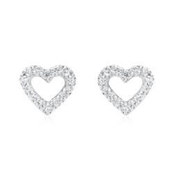 750er Weißgold Ohrstecker Herz 28 Diamanten