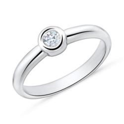 750er Weißgold Verlobungsring mit Diamant