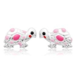 925 Silber Kinderohrstecker Schildkröte pink