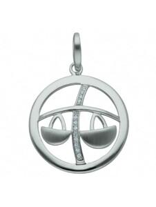 925 Silber Sternzeichen Anhänger Waage mit Zirkonia Ø 25,2 mm im Set mit 925 Silber Halskette 1001 Diamonds silber