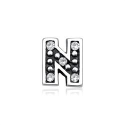 925er Silber Buchstaben Charm N mit Zirkonia