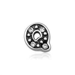 925er Silber Buchstaben Charm Q mit Zirkonia