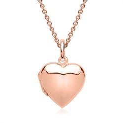 925er Silber Kette Herz-Medaillon rosé vergoldet