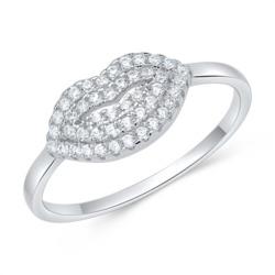 925er silber Ring Kuss mit Zirkonia Lippen