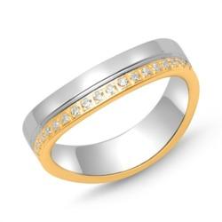 925er Silber Ring teilvergoldet Zirkonia