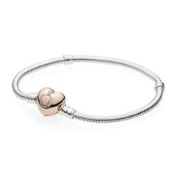 925er Silberarmband Herzverschluss ROSE