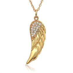 925er Silberkette gelbvergoldet mit Engelsflügel