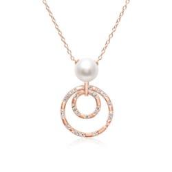 925er Silberkette mit Kreisanhänger und Perle in Rosé