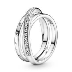 925er Silberring für Damen, dreifach gekreuzt