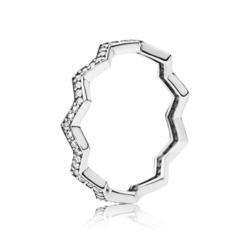 925er Silberring Shimmering Zigzag mit Zirkoniasteinen