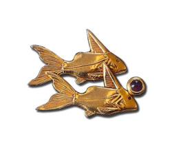 Altägyptisches Tierkreiszeichen 'Fische' (20.2.-20.3.) mit Glücksstein Amethyst, Brosche, Brosche, Schmuck