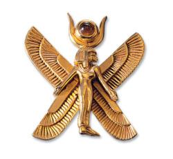 Altägyptisches Tierkreiszeichen 'Jungfrau' (24.8.-23.9.) mit Glücksstein Zitrin, Brosche, Brosche, Schmuck
